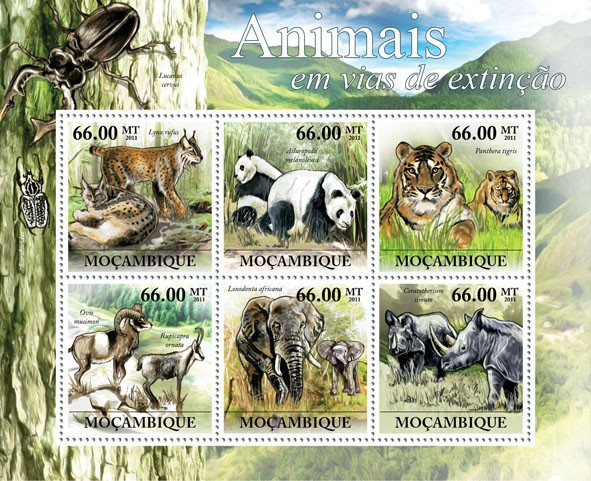 Animals in Danger, (Lynx rufus, Ceratotherium simum). - Issue of Mozambique postage Stamps