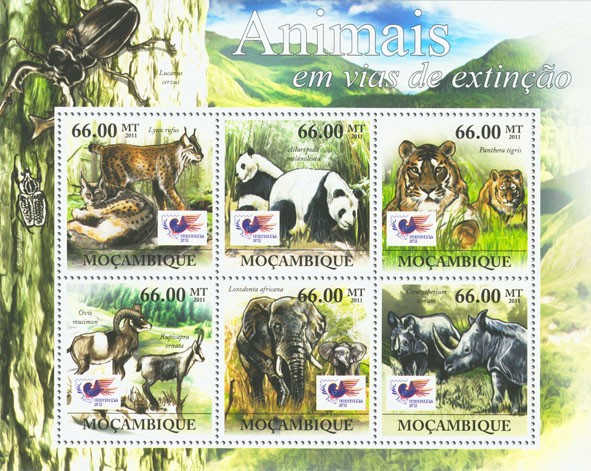 Animals in Danger, Indonesia 2012 - Jakarta, (Lynx rufus, Ceratotherium simum). - Issue of Mozambique postage Stamps
