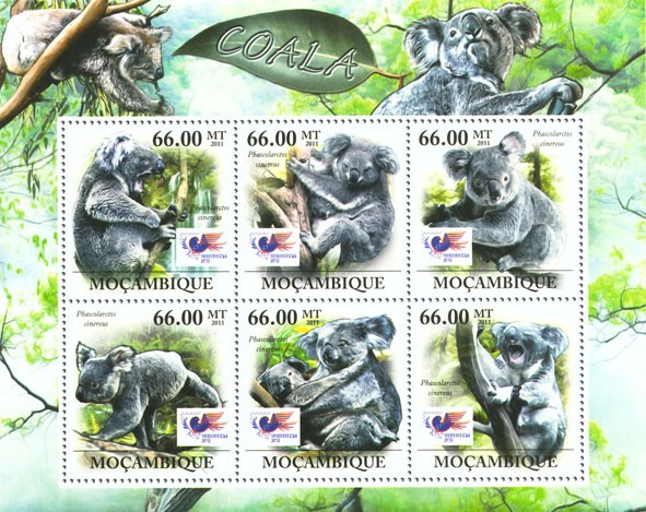Koalas, Indonesia 2012 Jakarta, (Phascolarctos cinereus). - Issue of Mozambique postage Stamps