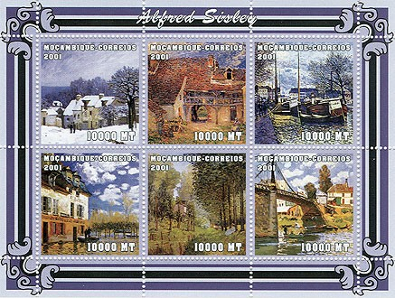 Alfred Sisley  6 x 10000 MT - Issue of Mozambique postage Stamps