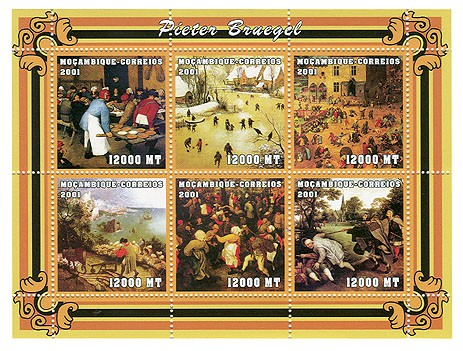 Pieter Bruegel 6 x 12000 MT - Issue of Mozambique postage Stamps
