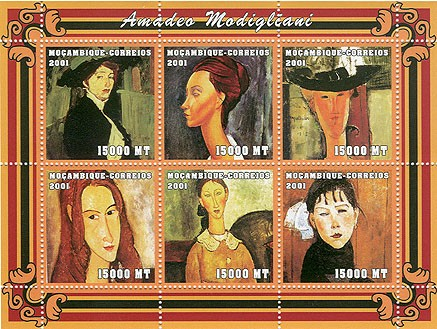 Amadeo Modigliani 6 x 15000 MT - Issue of Mozambique postage Stamps
