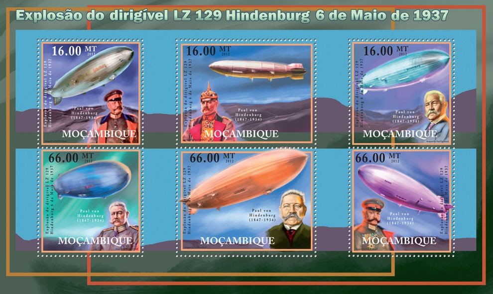 Explosion of the Blimp LZ 129 Hindenburg May 6, 1937. - Issue of Mozambique postage Stamps