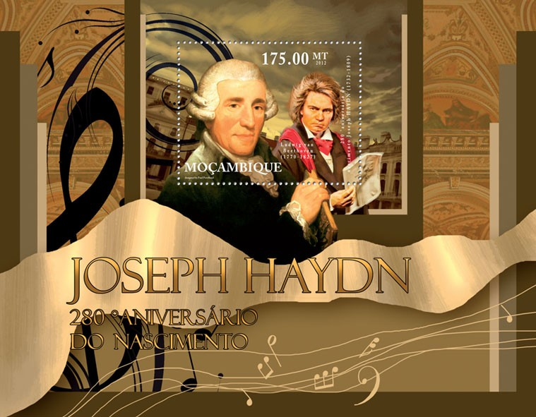 Joseph Haydn,  (280th Anniversary of Birth). - Issue of Mozambique postage Stamps