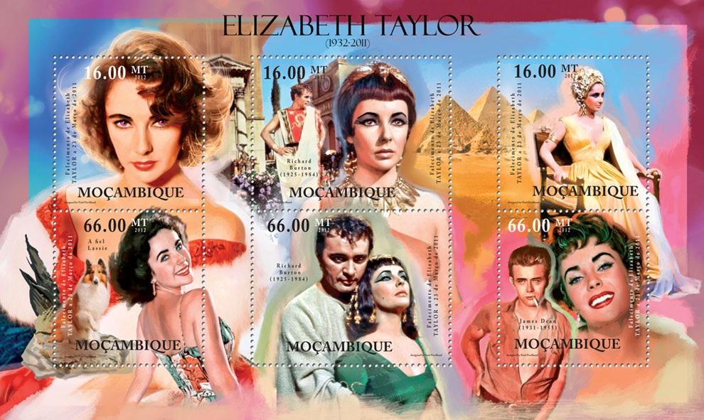 Elizabeth Taylor, (1932-2011). - Issue of Mozambique postage Stamps