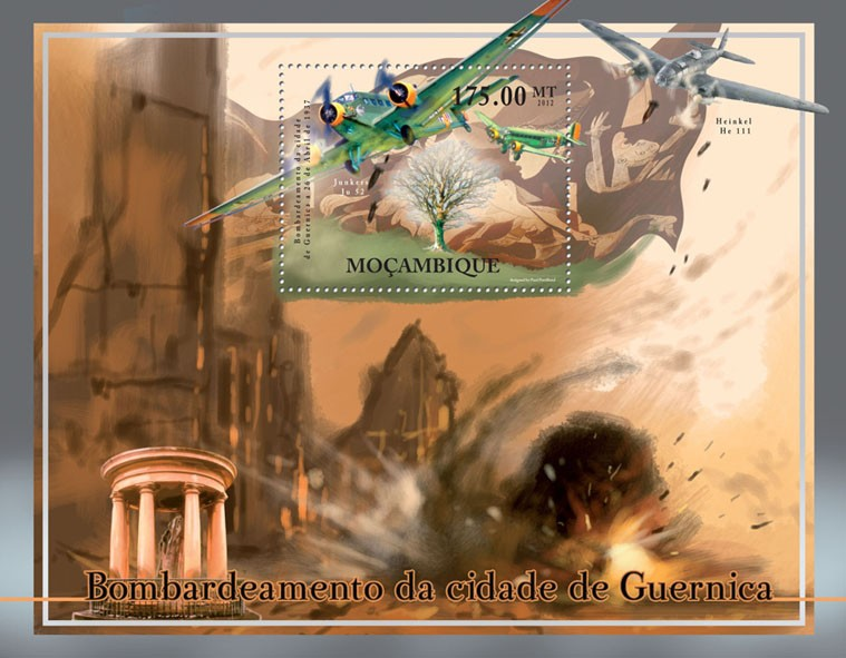 Bombardment of Guernica April 26, 1937, Aircrafts. - Issue of Mozambique postage Stamps