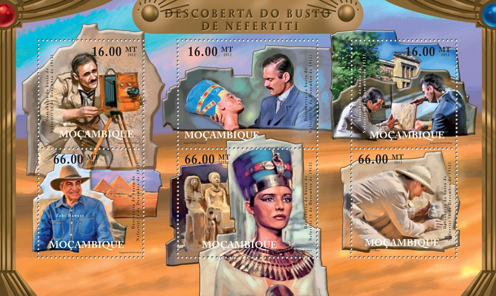 Discovery of the Bust of Nefertiti, Egypt. - Issue of Mozambique postage Stamps
