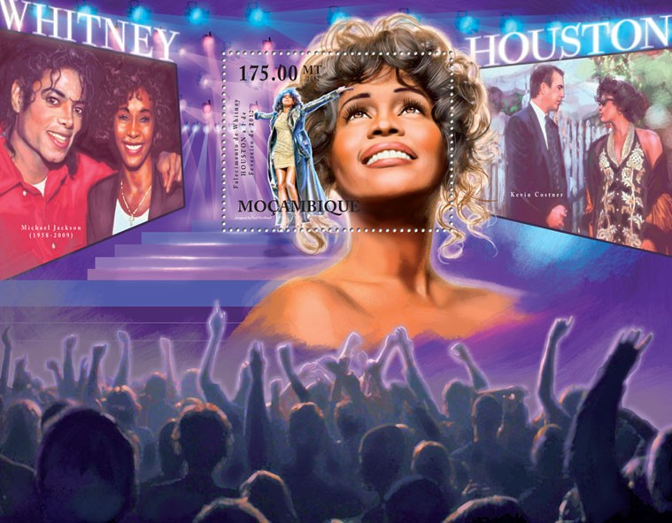 Whitney Houston, (1963-2012). - Issue of Mozambique postage Stamps