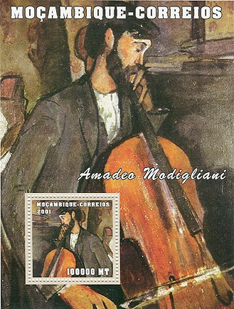 Amadeo Modigliani 100000 MT  S/S - Issue of Mozambique postage Stamps
