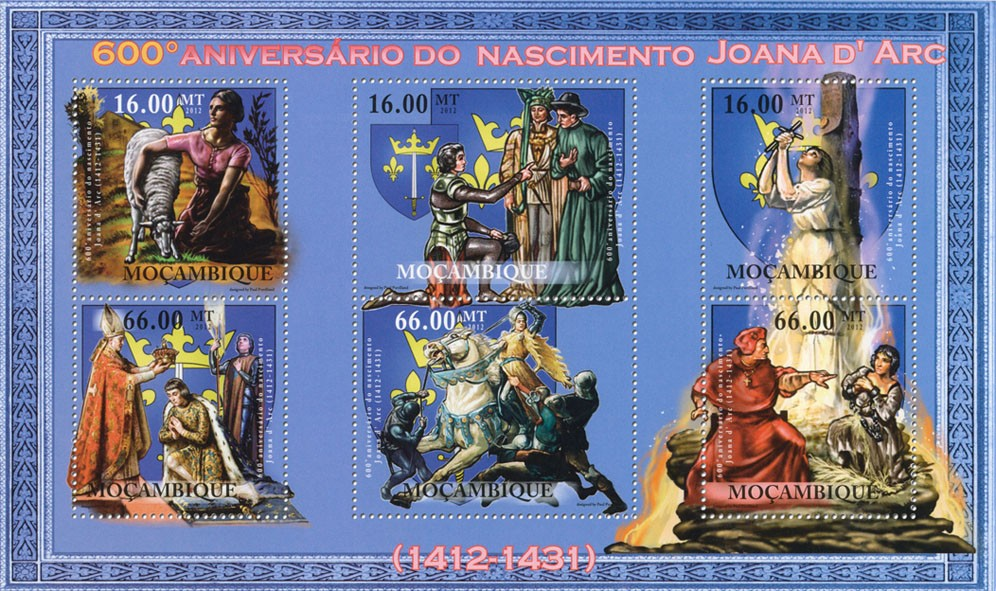Joanne d'Arc,  600th Anniversary of Birth, (1412-1431). - Issue of Mozambique postage Stamps