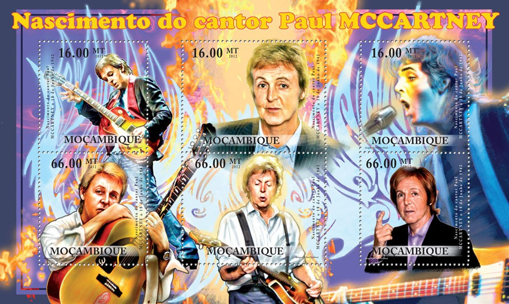 Paul Mccartney,  Birt of 18th June 1942 . - Issue of Mozambique postage Stamps