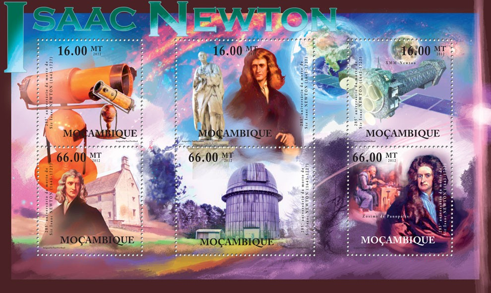 Isaac Newton, 285th Anniversaty of Death, (1643-1727). - Issue of Mozambique postage Stamps