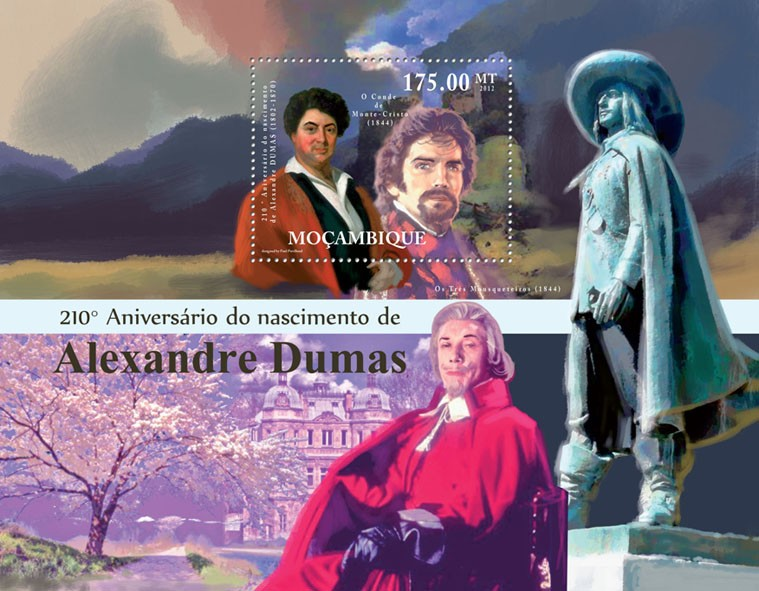 Alexander Dumas, 210th Anniversary of Birth, (1802-1870). - Issue of Mozambique postage Stamps