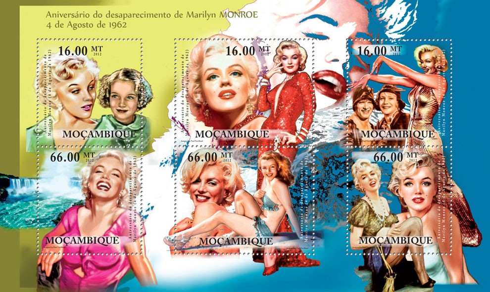 Marilyn Monroe, Disappearance  4th August 1962. - Issue of Mozambique postage Stamps