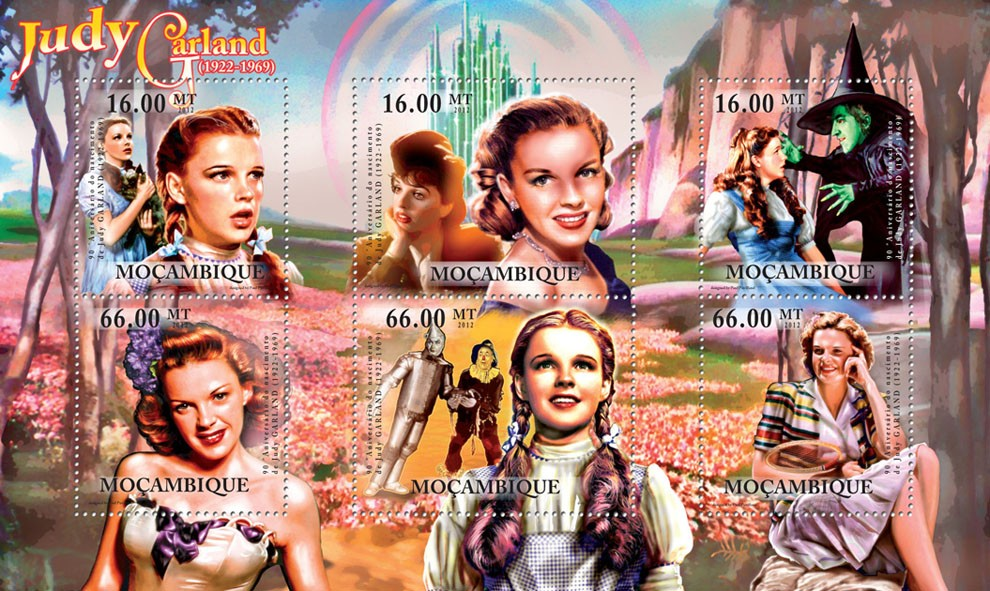 Judy Garland, (1922-1969) , American Cinema. - Issue of Mozambique postage Stamps