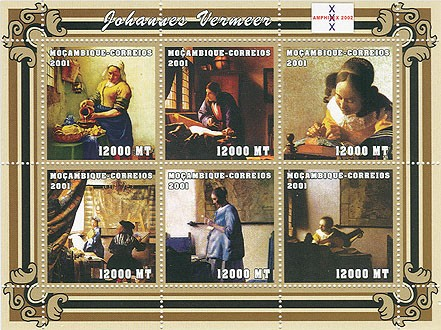 Johannes Vermeer 6 x 12000 MT - Issue of Mozambique postage Stamps