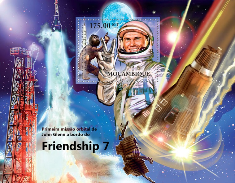 John Glen - Friendship 7, First Space Mission, Aircrafts. - Issue of Mozambique postage Stamps