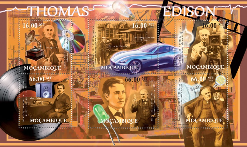 Tomas Edison, (1847-1931), Discoveries. - Issue of Mozambique postage Stamps
