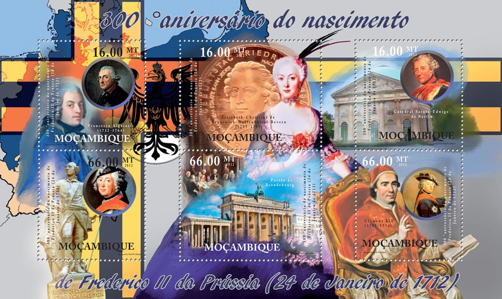 Frederick II of Prussia - 300th Anniversary of Birth. - Issue of Mozambique postage Stamps