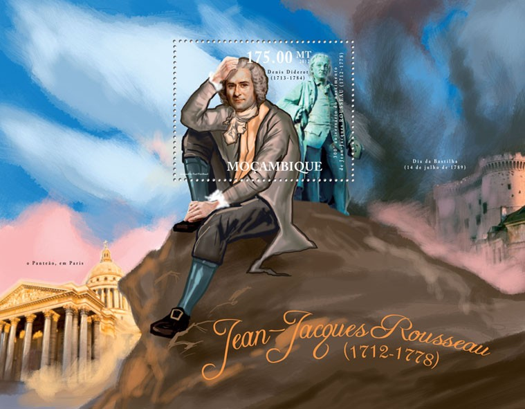 Jean-Jacques Rousseau, (1712-1778), 300th Anniversary of Birth. - Issue of Mozambique postage Stamps