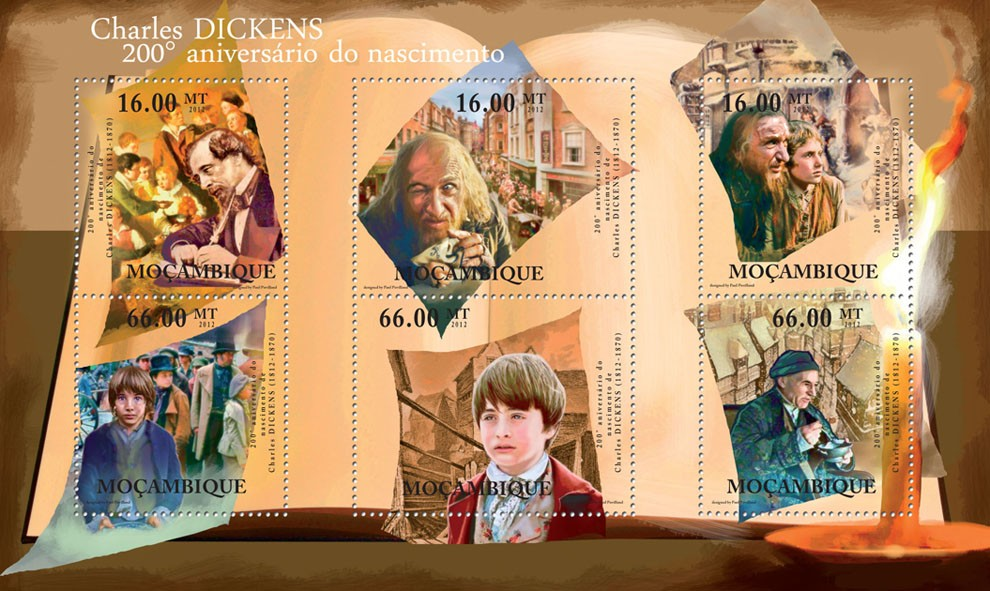 Charles Dickens, (1812-1870), 200th Anniversary of Birth. - Issue of Mozambique postage Stamps