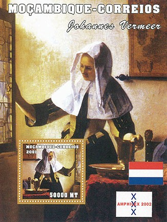 Johannes Vermeer 50000 MT  S/S - Issue of Mozambique postage Stamps