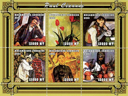 Paul Cezanne 6 x 12000 MT - Issue of Mozambique postage Stamps