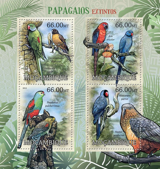Parrots - Issue of Mozambique postage Stamps