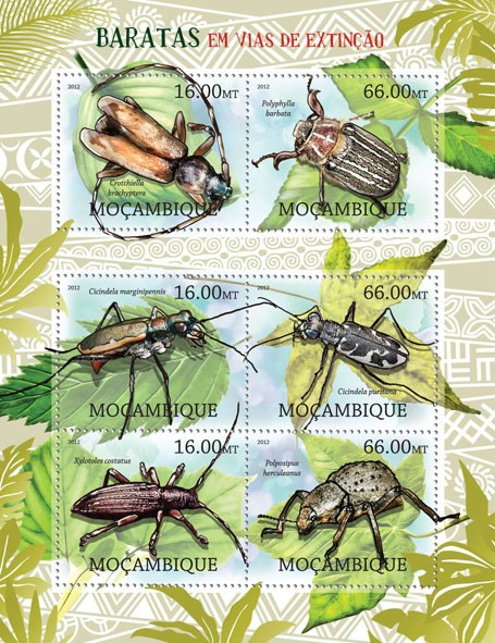 Cockroaches - Issue of Mozambique postage Stamps