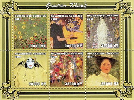 Gustav Klimt 6 x 28000 MT - Issue of Mozambique postage Stamps