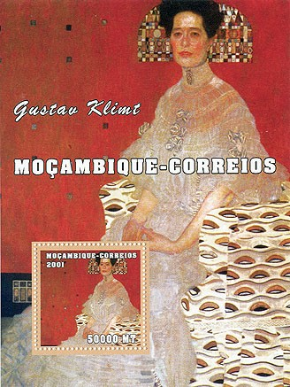 Gustav Klimt 50000 MT  S/S - Issue of Mozambique postage Stamps