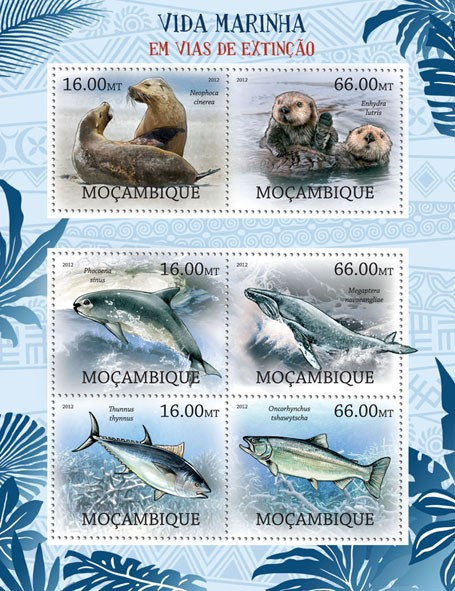 Marine Life - Issue of Mozambique postage Stamps