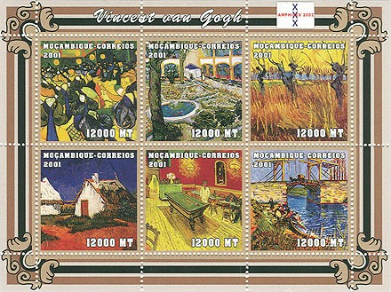 Vincent Van Gogh   6 x 12000 MT - Issue of Mozambique postage Stamps