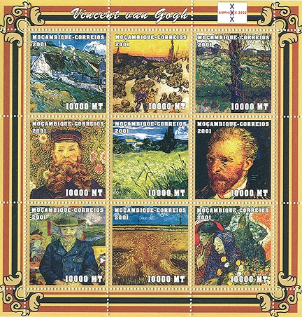Vincent Van Gogh   9 x 10000 MT - Issue of Mozambique postage Stamps