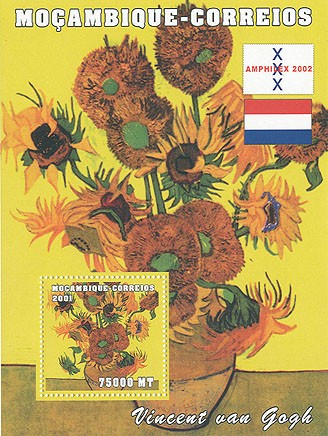 Vincent Van Gogh 75000 MT  S/S - Issue of Mozambique postage Stamps