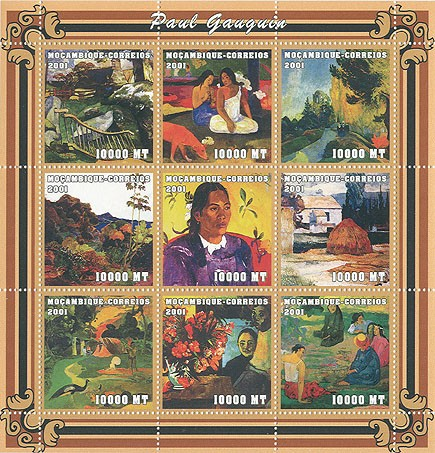 Paul Gaugin  9 x 10000 MT - Issue of Mozambique postage Stamps