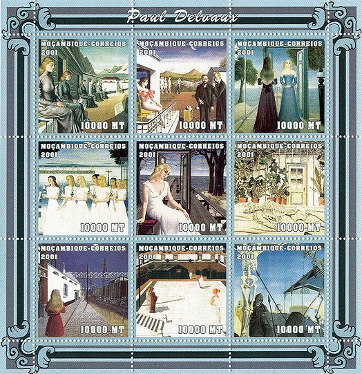 Paul Delvaux - Issue of Mozambique postage Stamps