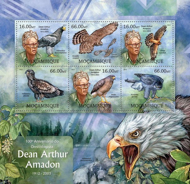 Ornithologist D. A. Amadon - Issue of Mozambique postage Stamps