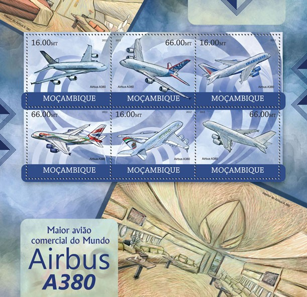 Airbus A380 - Issue of Mozambique postage Stamps