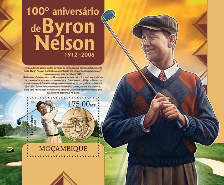 Byron Nelson - Issue of Mozambique postage Stamps