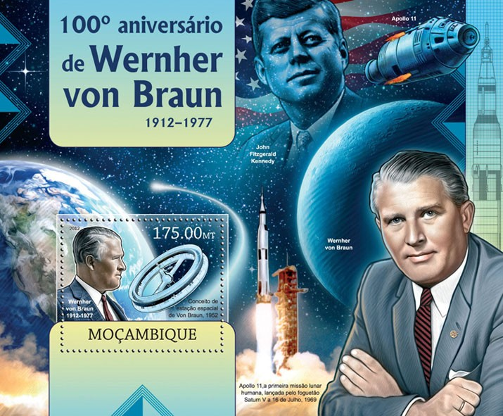 Wernher von Braun - Issue of Mozambique postage Stamps