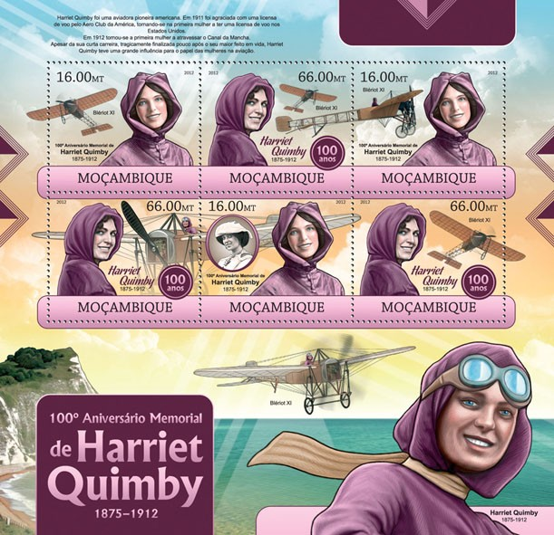 Harriet Quimby - Issue of Mozambique postage Stamps