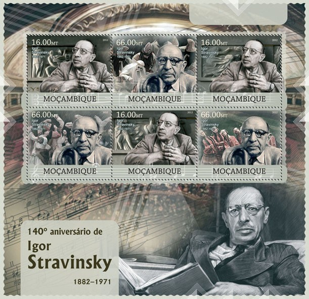 Igor Stravinsky - Issue of Mozambique postage Stamps