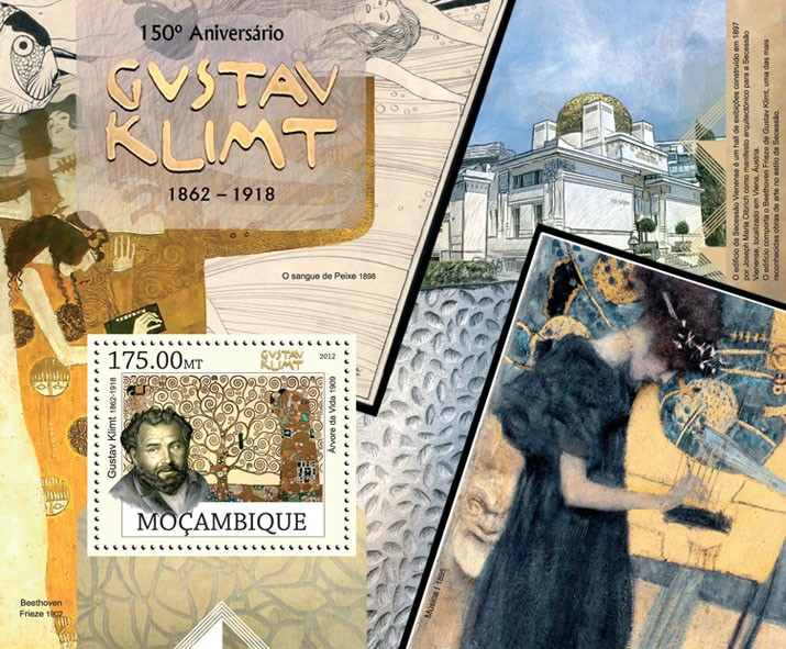 Gustav Klimt - Issue of Mozambique postage Stamps