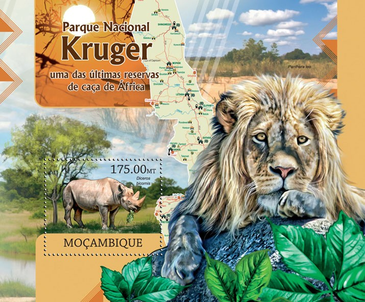 Kruger National Park - Issue of Mozambique postage Stamps