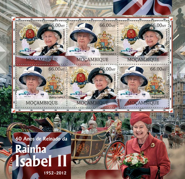 Queen Elizabeth II - Issue of Mozambique postage Stamps
