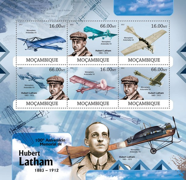 Hubert Latham - Issue of Mozambique postage Stamps