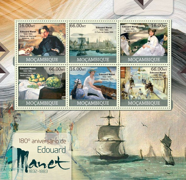 Edouard Manet - Issue of Mozambique postage Stamps