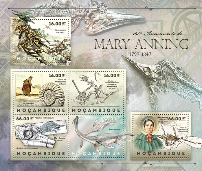 Marry Anning - Issue of Mozambique postage Stamps