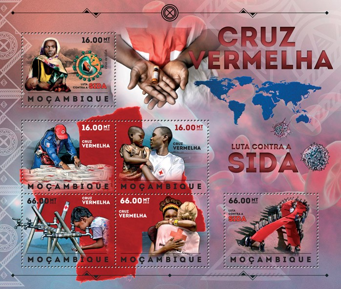 AIDS - Issue of Mozambique postage Stamps